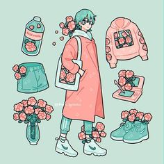 A stroll in the park 🌷fave item(s)? (Fixed some things) Aesthetic Drawing, Aesthetic Art, Aesthetic Anime, Arte Do Kawaii, Kawaii Art, Cute Art Styles, Cartoon Art Styles, Arte Copic, Japon Illustration