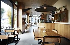 Common Galaxia Coffee Shop Melbourne Remodelista rivited leather onto chair instead of stiching.