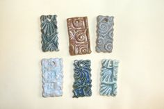 Lot of 6 Assorted Stamped Textured Ceramic Rectangle Pendants Handcrafted #Handcrafted