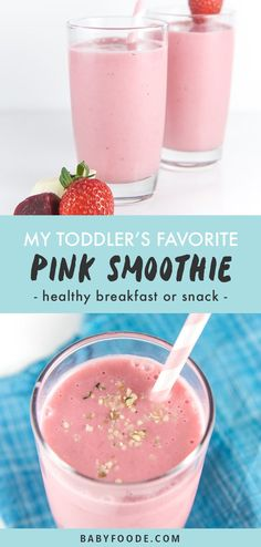 My Toddler's Favorite Pink Smoothie (Hidden Veggie!) - Baby Foode - This is My Toddler's Favorite Pink Smoothie, filled with strawberries, raspberries, beets, a bana - Blackberry Smoothie, Strawberry Banana Smoothie, Fruit Smoothie Recipes, Smoothie Prep, Smoothies For Kids, Apple Smoothies, Healthy Breakfast Smoothies, Toddler Smoothies, Healthy Snacks