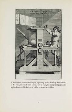 "How prints look: photographs with a commentary / by W. M. Ivins, jr, 1943. Metropolitan Museum of Art Publications. The Metropolitan Museum of Art, New York. Thomas J. Watson Library (b10400618) | ""A seventeenth-century etching or engraving press"""