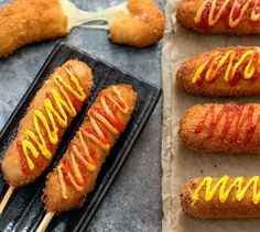 Korean hot dogs, also known as Korean corn dogs, are a popular Korean street food that has recently come to the US. Learn how to make these fun, cheesy hot dogs at home. Corn Dogs, Korean Street Food, Korean Food, Korean Hot Dog Recipe, Corndog Recipe, 17 Kpop, Cheese Dog, Good Food, Yummy Food