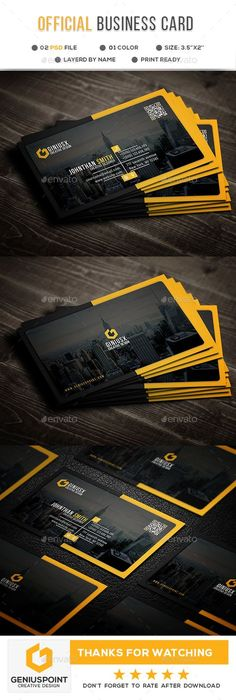 Buy Official Business Card by GeniusPoint on GraphicRiver. Features: Easy Customizable and Editable Business Card Design in with Bleed Setting inch) CMYK Colo. Elegant Business Cards, Cool Business Cards, Corporate Business, Visiting Card Design, Visiting Card Creative, Name Card Design, Bussiness Card, Photography Business Cards, Flyer