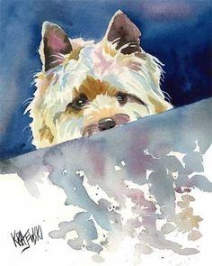 Cairn Terrier Art Print of Original Watercolor by dogartstudio