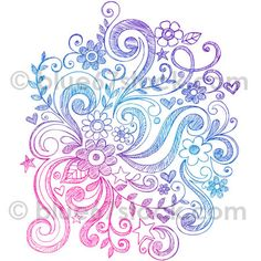 Hand-Drawn Sketchy Flowers and Swirls Doodle Vector Illustration, via Flickr.