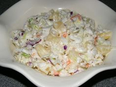 The Best Pineapple Coleslaw  --  packaged coleslaw mix and canned pineapple tossed in a sweet and tangy homemade dressing.