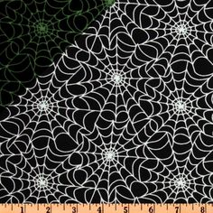Timeless Treasures Spider Web Glow-in-the-Dark Black from @fabricdotcom  Designed for Timeless Treasures, this novelty cotton print features an all over spider web in white on a black background. This fabric glows in the dark. Fabulous for Halloween!