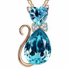 Crystal Cat Pendant Necklace (9 Colors)