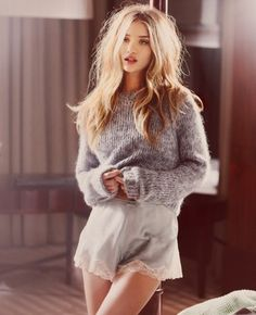 messy hair, fluffy sweaters, fancy pants.