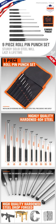 Set of Chisels and Punches Nailer Chisels for Mechanic and Pin Punch Set of 16 Pieces