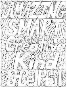 Reward students with a whimsical word bookmark that describes the characteristic they have displayed. Amazing Smart Creative Kind Helpful Reward students with a whimsical Quote Coloring Pages, Free Adult Coloring Pages, Colouring Pages, Printable Coloring Pages, Coloring Sheets, Coloring Books, Positive Characteristics, Affirmations, Color Quotes