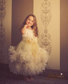 """An Enchanted Heirloom""...A Lovely Flower Girl Dress A girl just can't help but feel like a princess in this lovely flower girl dress by Love baby J! This gorgeous dress with STUNNING detail is made o"
