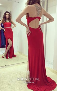 Red Prom Dresses Modest, Long Formal Evening Dresses With Slit, Jersey Pageant Dresses Open Back, Sheath/Column Wedding Party Dresses with beading #MillyBridal #redpromdress #promdresseswithslit #formaldresses