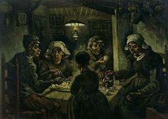 لوحة من أعمال فنسنت الأولى بعنوان آكلو البطاطس