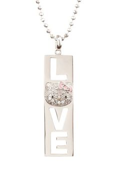 "{Hello Kitty White Sapphire ""LOVE"" Necklace}"