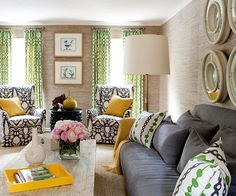 Living room color scheme of kelly green, saffron yellow, steel gray, and bleached beige. http://www.bhg.com/decorating/color/schemes/living-room-color-schemes/?utm_content=bufferbb0bf&utm_medium=social&utm_source=pinterest.com&utm_campaign=buffer#page=14