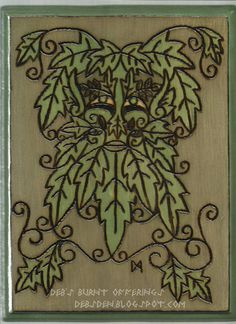 Green Man Wood Plaque Pyrography
