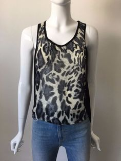 T-BAGS Los Angeles Sleeveless Animal Print Blouse Tank Top Black White S $169 #TBags #Blouse #Casual