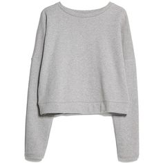 Shoulder Seam Sweatshirt (365 UYU) ❤ liked on Polyvore featuring tops, hoodies, sweatshirts, sweaters, shirts, jumpers, long sleeve tops, long sleeve shirts, drop-shoulder tops and cotton shirts