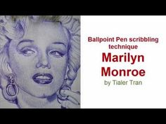 How To Draw with Ballpoint Pen | The Technique - Drawing Marylin Monroe - YouTube