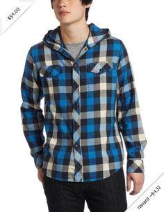 RVCA Men's Drop In Long Sleeve Shirt, Royal Fade, Small