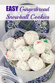 Also known as Mexican wedding cookies these Easy Gingerbread Snowball Cookies are a simple light buttery and cakey ball shaped cookie covered in powdered sugar. They are the ultimate Christmas cookie and the perfect addition to any holiday baking tray! Holiday Baking, Christmas Baking, Christmas Cookies, Christmas Foods, Christmas Sweets, Christmas Recipes, Cookie Recipes, Dessert Recipes, Dinner Recipes