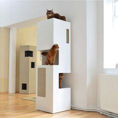 Kratzbaum EMPIRE, Weiß, Sisal Hellgrau - Ambiente - Design Kratzbäume made by stylecats
