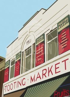 Tooting Market - Limited Edition Giclée Art Print - Place in Print South London, West London, Poster Prints, Framed Prints, Art Prints, Print Place, Toot, Home Art, Giclee Print