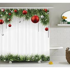 Ambesonne Merry Christmas Shower Curtain Bathroom Accessories Noel Backdrop Fir Leaves Decorative Bright Balls Classic Religious Xmas Decor Polyester Fabric Set Hooks Red Green >>> Check out this great product-affiliate link. Christmas Bathroom Decor, Christmas Shower Curtains, Tree Shower Curtains, Bathroom Decor Sets, Shower Curtain Sizes, Bathroom Shower Curtains, Bathroom Accessories, 21 Party, Snacks Für Party