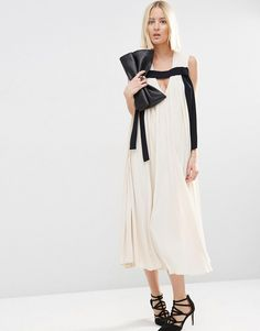 Image 4 of ASOS WHITE Pleat Detail Midi Dress