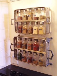 diy-home-decorating-ideas-Spice-Rack. Use thrifted salt and pepper shakers for spices