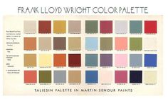 muted pallette to the left, dusky blue, mustard taupe, red, green: Living In the Box: Frank Lloyd Wright Color Palette