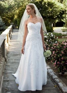 Davids Bridal Wedding Dress: Satin Petite Gown with Lace and Beaded Appliques Style 7WG3103