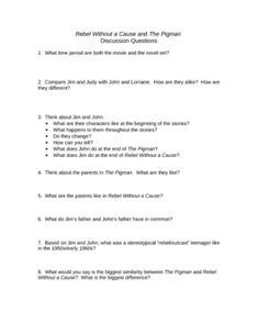 activities and handouts for the pigman by paul zindel vocabulary rebel out a cause the pigman comparison discussion worksheet
