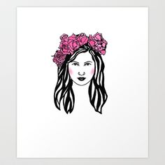 My artwork :)..Roses are red... I love flowers..  Art Print by Juliette R. - $17.68. #art #portrait #flowers