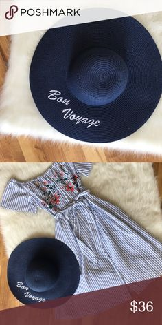 Bon Voyage navy beach hat Bon Voyage navy beach hat with white embroidered writings Accessories Hats