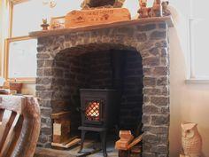 Jotul wood stove in fireplace
