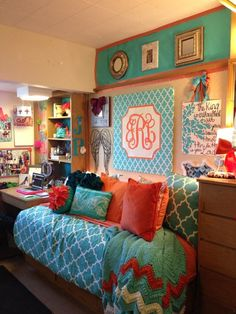 Hello monograms! Awesome ideas for a cute dorm room. - Forget the dorms, I want this over my bed. JH