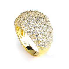 Gold Plated Big Dome Ring Micro Pave CZ Cubic by CZsparkleJewelry
