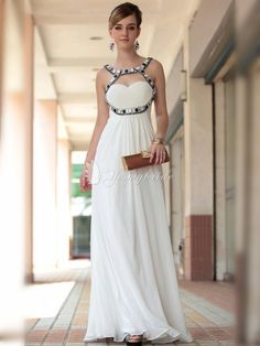 white chiffon strap neck long formal dress for prom