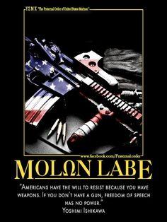 """ΜΟΛΩΝ ΛΑΒΕ - """"Americans have the will to resist because you have weapons. If you don't have a gun, freedom of speech has no power - yoshimi Ishikawa #SecondAmendment"""