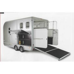 Ifor Williams Eventa Horse Trailer with Living showing rear ramp and side storage area