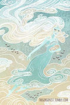Bewolkte ochtend Sprite 8 x 12 fantasy art print