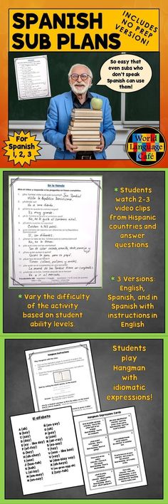 Who wants emergency Spanish sub plans that you can email to your Department Head when you're feeling lousy? Includes 3 versions: emergency, no prep; regular; for Google classroom. Spanish students watch 2-3 short cultural video clips, answer questions, play Hangman while learning Spanish idioms, and learn the Hispanic countries with a word search. Perfect for Spanish subs who don't speak English. #learntospeakspanish #learnspanishwords