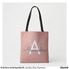 Shop Pink Rose Gold Sparkle Elegant Monogram Book Bag created by Hot_Foil_Creations. Rose Gold Foil, Rose Gold Glitter, Gold Sparkle, Wedding Gifts For Women, Monogram Gifts, Monogram Tote, Printed Tote Bags, Women Accessories, Gifts For Her