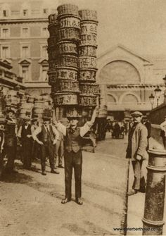 size: Giclee Print: A Man Carrying Many Baskets on His Head, Covent Garden, London, : Vintage London, Old London, Victorian London, Covent Garden, Vintage Photographs, Vintage Photos, Bedford House, London Market, London History