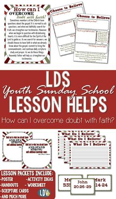 November {Spiritual and Temporal Self-Reliance} youth Sunday school. How can I Overcome doubt With Faith?Packets full of amazing lesson helps! All lesson helps also available in black and white. Lds Sunday School, Sunday School Lessons, Lds Faith, Brick Store, Lds Church, Church Ideas, Object Lessons, Latter Days, Teacher Resources