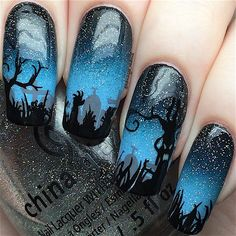 """255 Likes, 16 Comments - Hanny - Licensed Nail Tech (@hannys_manis) on Instagram: """"HaPpY HaLlOwEeN! Last Halloween nails of the year Spooky graveyard nails! I used acrylic paint…"""""""