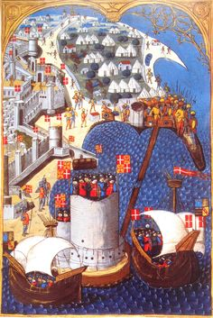 The 1480 Siege of Rhodes (ships of the Hospitaliers in forefront, Turkish camp in background), from 'Gestorum Rhodiae obsidionis commentarii', 1481