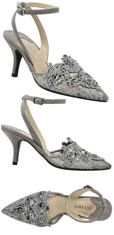 7d90b6194 Grey Dark Silver Embroidered Shoes. Lace Mother of the Bride Shoes. Read  blog featuring